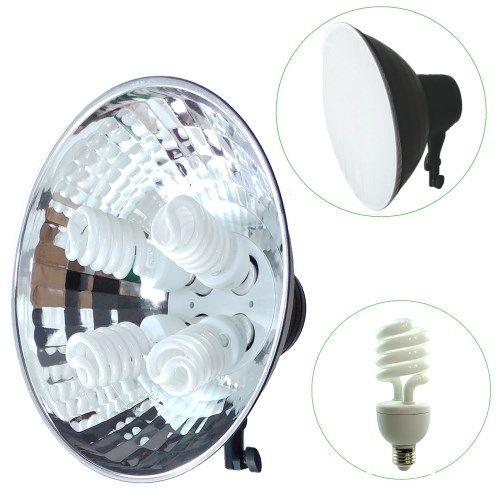 DynaSun KFL16 800W Illuminatore da Studio Professionale a Risparmio Energetico con 4x Lampada DayLight a Luce Continua e Parabola Riflettore Integrata