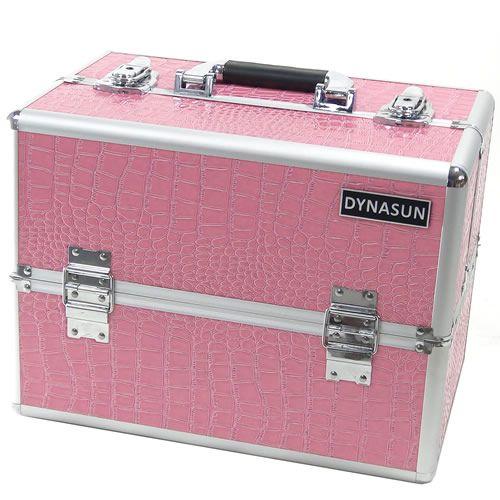 Beauty Case Make Up DynaSun BS35 XXL Rosa/Argento con Disegno di Pelle di Coccodrillo Valigia Cofanetto Porta Gioie Smalti