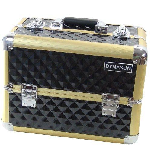 Beauty Case Make Up DynaSun BS36 37x23x28cm XXL Nero Oro Gold Professionale Valigia Cofanetto Porta Gioie Smalti Oggetti