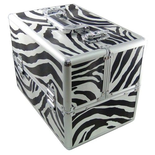 DynaSun Bss35 Beauty Case Make Up Nail Art Porta Gioie, Zebra, XXL