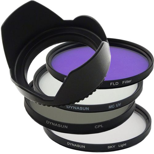 DynaSun - Set di filtri Slim da 77mm, include filtro polarizzatore circolare, filtro Skylight, filtro MCUV, obiettivo, filtro FL-D, copriobiettivo, per fotocamere Nikon, Pentax, Olympus, Samsung, Sony, Panasonic, Fujifilm