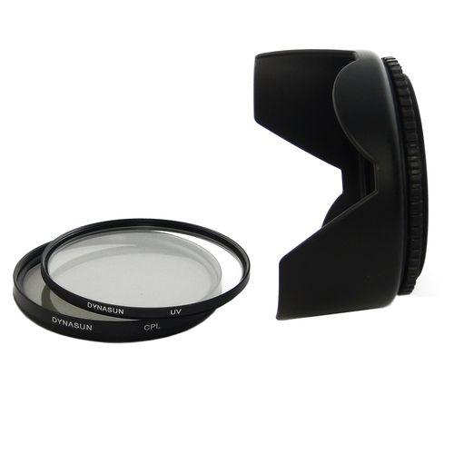 Filtro Ultra Violetto DynaSun UV 58mm + Polarizzatore Circolare CPL 58 mm C-PL + Paraluce a Petalo