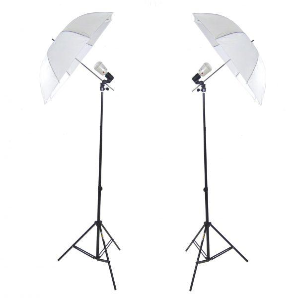 Kit 2x Illuminatore Flash DynaSun FLS60 Cavalletto Stativo, Portalampada, Lampada Flash Ombrello