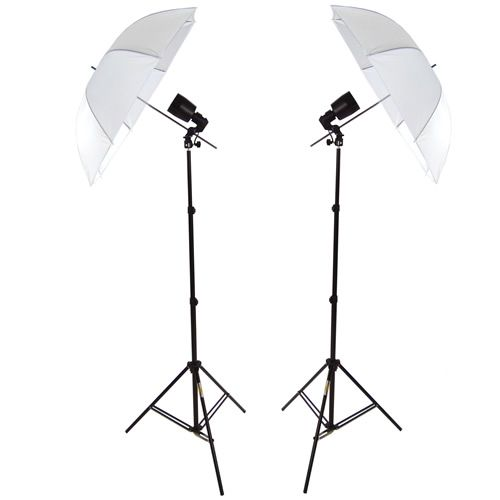 Kit 2x Illuminatore Flash DynaSun FLS80 Cavalletto Stativo, Portalampada, Lampada Flash Ombrello