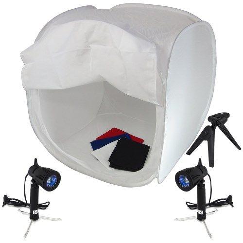 DynaSun PB01 Kit2 Tenda Luce Cubo Professionale 60x60x60cm Softbox Diffusore Pieghevole con 4x Fondali Bianco Nero Blu Rosso, 2x Illuminatori, Cavalletto e Borsa