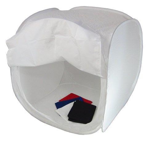 DynaSun PB01 60x60x60cm Tenda Luce Cubo Professionale Softbox Diffusore Semirigido Pieghevole con 4x Fondali Bianco Nero Blu Rosso e Borsa da Trasporto