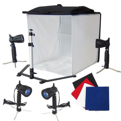 DynaSun PB5XL 50cm Kit Cubo Professionale Tenda Luce Softbox Diffusore da Tavolo con 4x Fondali Bianco Nero Blu Rosso, 4x Illuminatori, Cavalletto