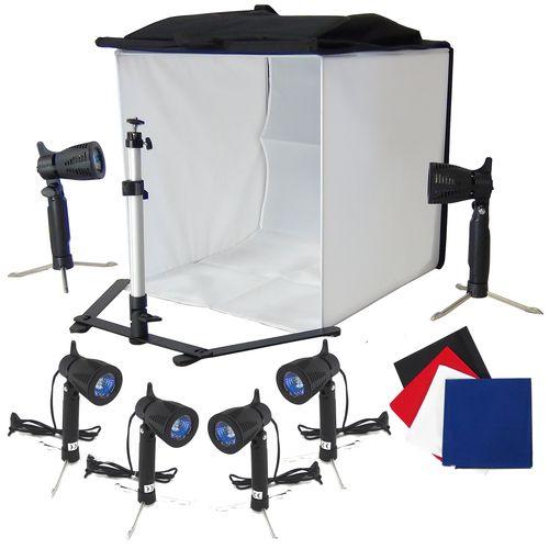 DynaSun PB5XL 60cm Kit Cubo Professionale Tenda Luce Softbox Diffusore da Tavolo con 4x Fondali Bianco Nero Blu Rosso, 6x Illuminatori, Cavalletto