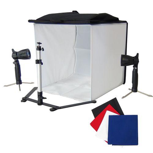 DynaSun PB5L 60cm Kit Cubo Professionale Tenda Luce Softbox Diffusore da Tavolo con 4x Fondali Bianco Nero Blu Rosso, 2x Illuminatori, Cavalletto