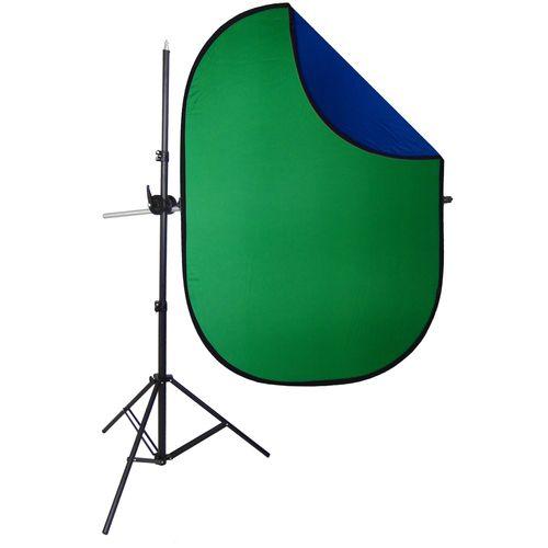Kit Professionale Cavalletto Stativo con Braccio Telescopico Giraffa DynaSun H2258 W957 con Fondale Background Pieghevole DynaSun RE2010 Blu Verde 150x200cm