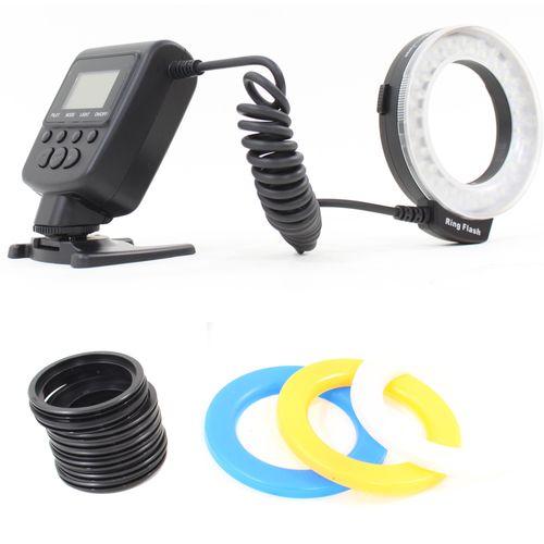 DynaSun 550 LED Macro Ring Flash Illuminatore Luce Light per Canon Nikon Olympus Panasonic Pentax DSLR, Nero